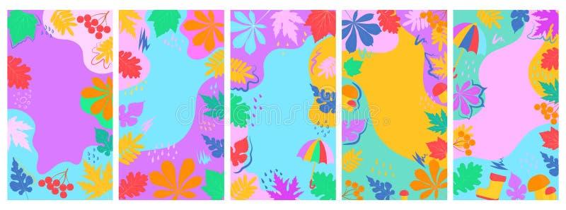 Ställ in av abstrakta vertikala baner för socialt massmedia, för annonsering, höstförsäljningen Nedgångsidor, regnkängor, paraply vektor illustrationer
