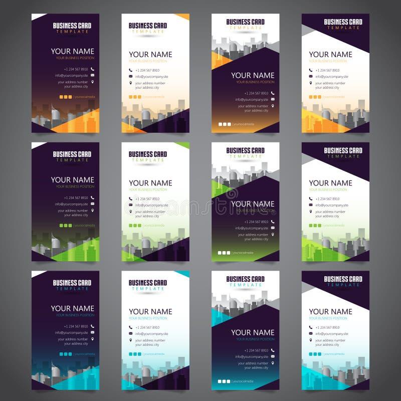 Ställ in av affärskort med olika omväxlande färger stock illustrationer
