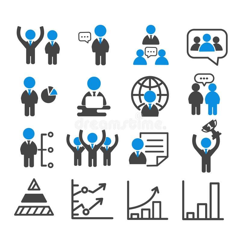 Ställ in av affärslaget och ledarskap med den isolerade grafsymbolen Modern ?versikt p? vit bakgrund vektor illustrationer
