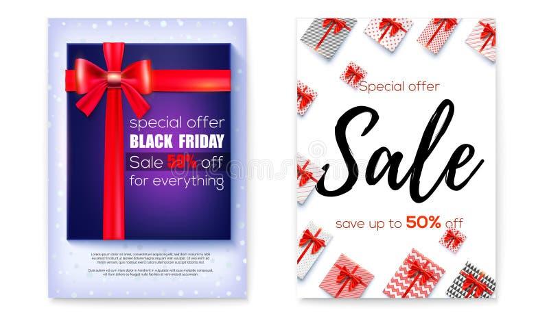 Ställ in av affischen för händelser av försäljningen, prisförminskning svarta friday Femtio procent rabatt Design av bokstäver To vektor illustrationer