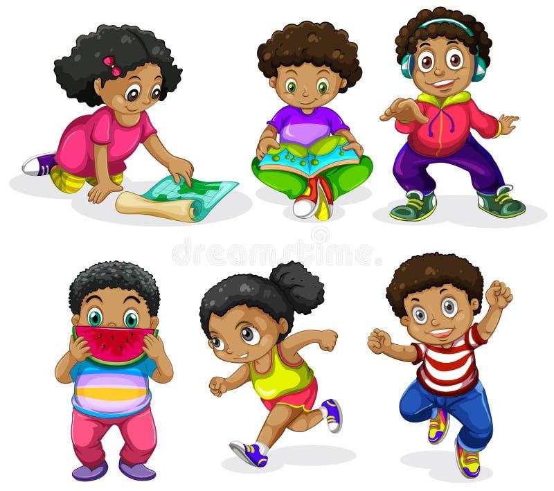 Ställ in av afrikanska barn stock illustrationer