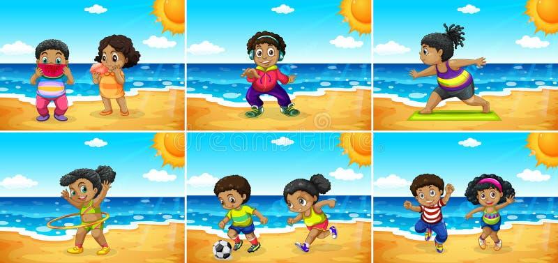 Ställ in av afrikanska ungar på stranden royaltyfri illustrationer