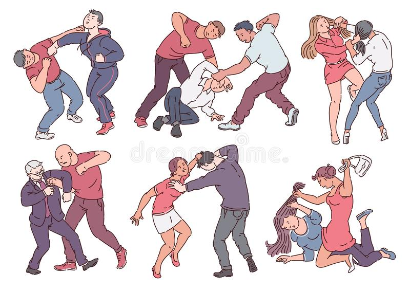 Ställ in av aggressivt folk under kamphandlingar skissar stil vektor illustrationer