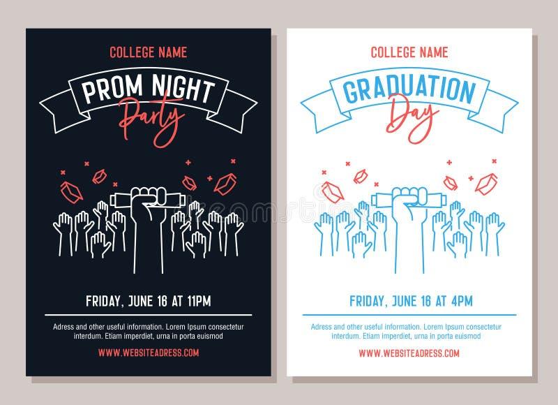 Ställ in av 2 akademiska affischer Vektorillustration för inbjudningar för parti för studentbalnatt och andra för händelser för a stock illustrationer