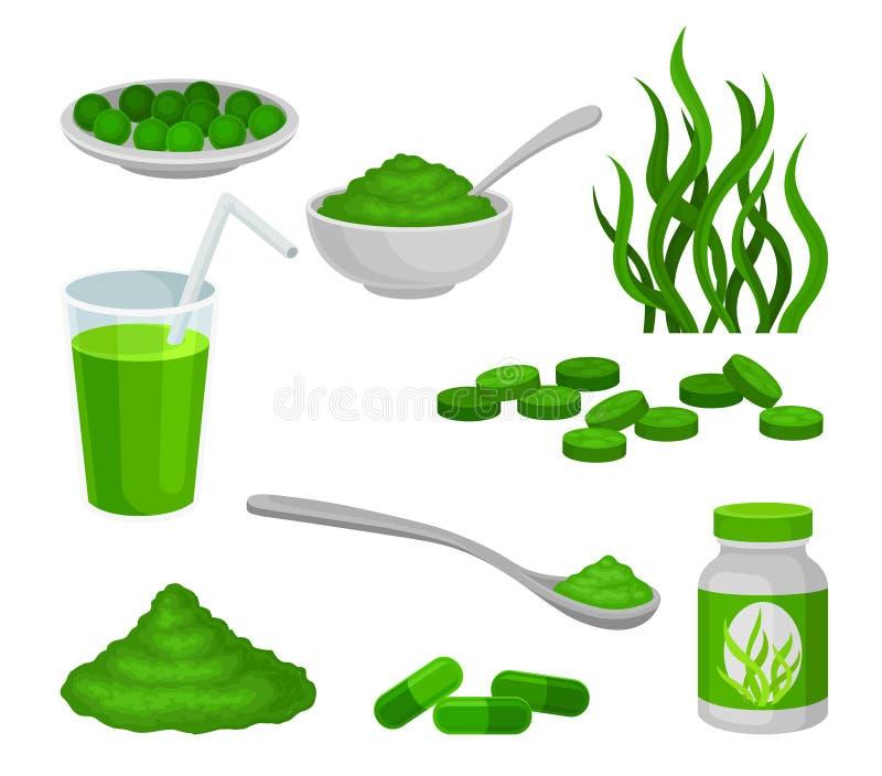 Ställ in av algprodukter white f?r vektor f?r bakgrundsillustrationhaj royaltyfri illustrationer