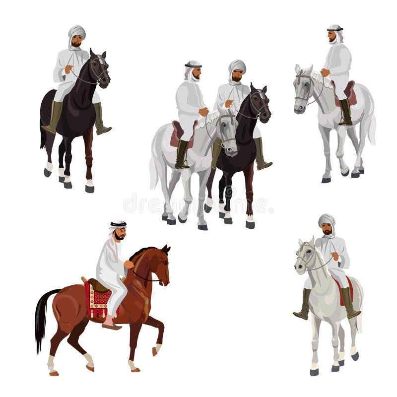 Ställ in av arabiska ryttare royaltyfri illustrationer