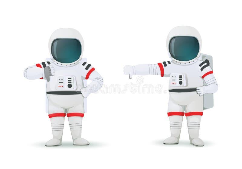 Ställ in av astronaut som gör gester av ogillande En akimbo hand och andra visande tummar ner tecken Motvilja kassering poserar vektor illustrationer