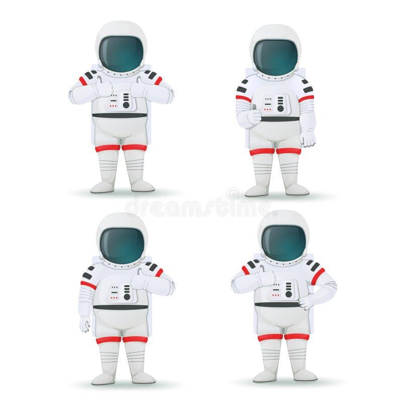 Ställ in av astronaut som gör isolerade gester av godkännande på en vit bakgrund Som poserar överenskommelse Tummar up tecken stock illustrationer