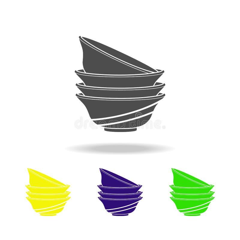ställ in av att dricka den mångfärgade symbolen för bunkar Beståndsdel av den mångfärgade symbolen för kitchenware Tecknet symbol vektor illustrationer