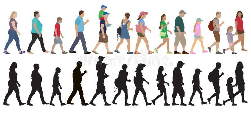 Ställ in av att gå folkfolkmassan och konturer, isolerat också vektor för coreldrawillustration stock illustrationer