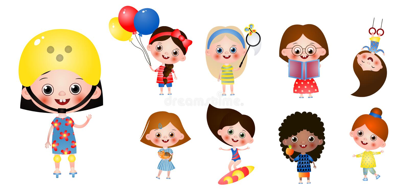 Ställ in av att intressera tidfritid för barn Olika kvinnliga tecken som isoleras på vit bakgrund stock illustrationer