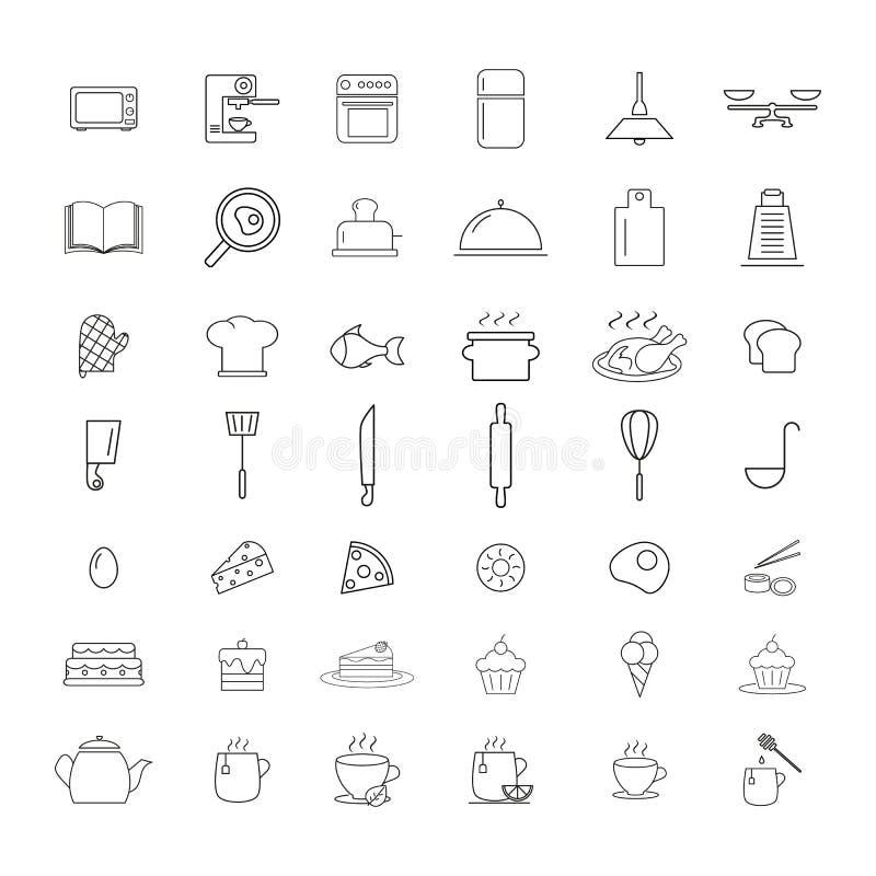 St?ll in av att laga mat symboler f?r att f?rbereda disken stock illustrationer