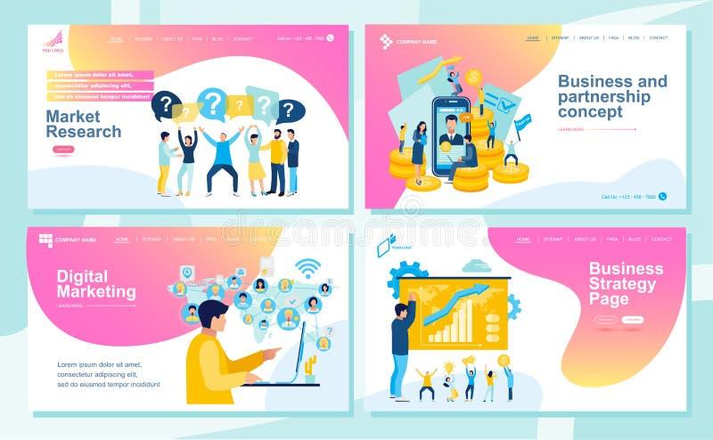 Ställ in av att landa sidadesignmallar för SEO, rengöringsdukdesign, Ui utveckling och den Digital marknadsföringen Affärs- och p arkivbilder