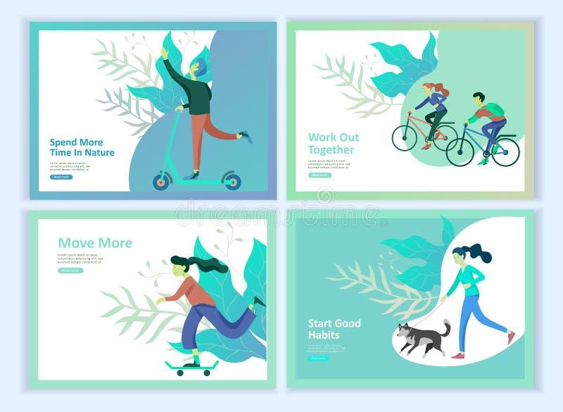 Ställ in av att landa sidamallar för hobbyblogg Folk som tycker om deras hobbyer och att dansa och att rida en sparkcykel, målarf vektor illustrationer