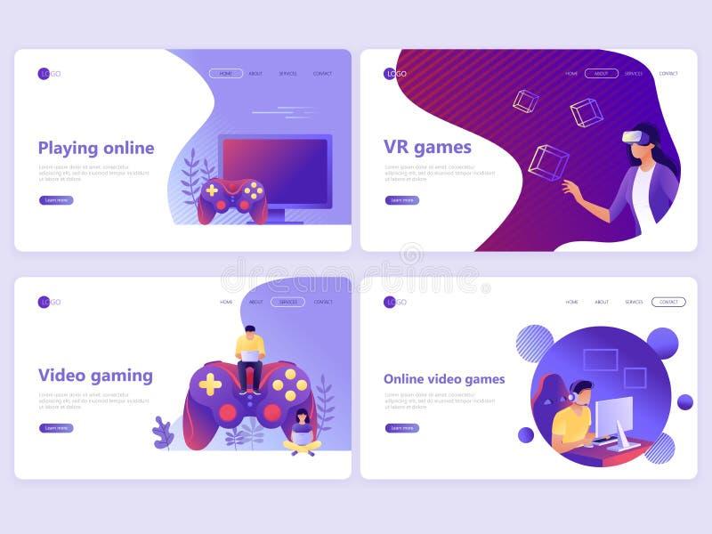 Ställ in av att landa sidamallar Video dobbel, online spel, VR-dobbel, gamepad Plana vektorillustrationbegrepp för en webbsida el royaltyfri illustrationer