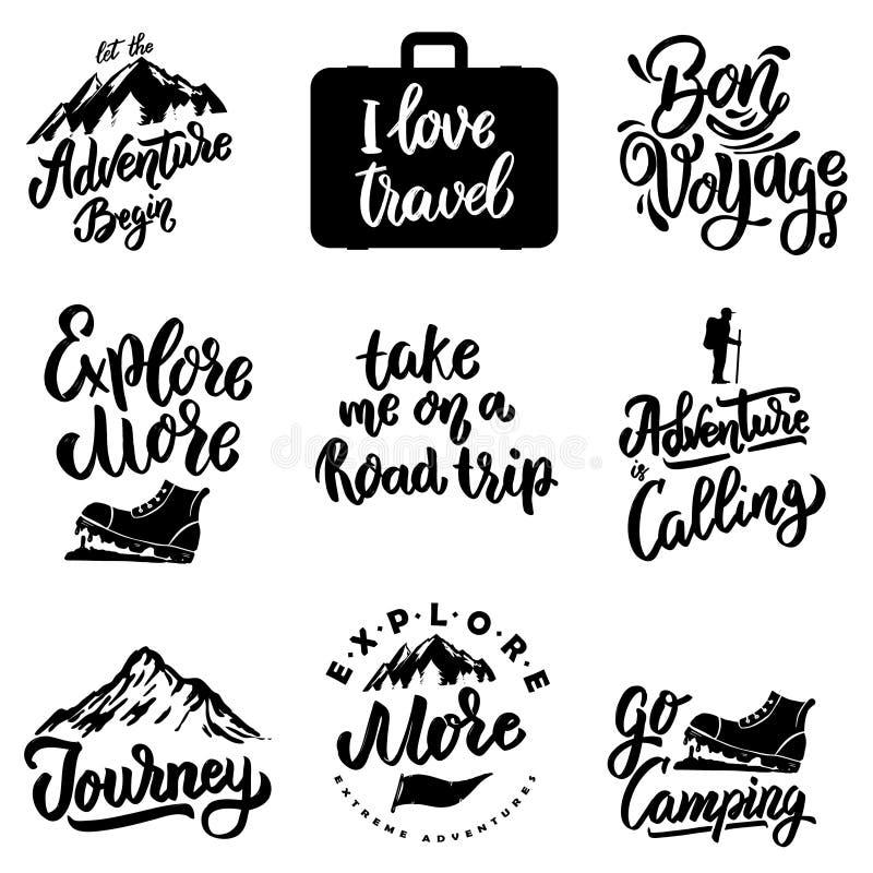 Ställ in av att märka motivationuttryck med lopp- och affärsföretagbeståndsdelberget och att campa, turism vektor illustrationer