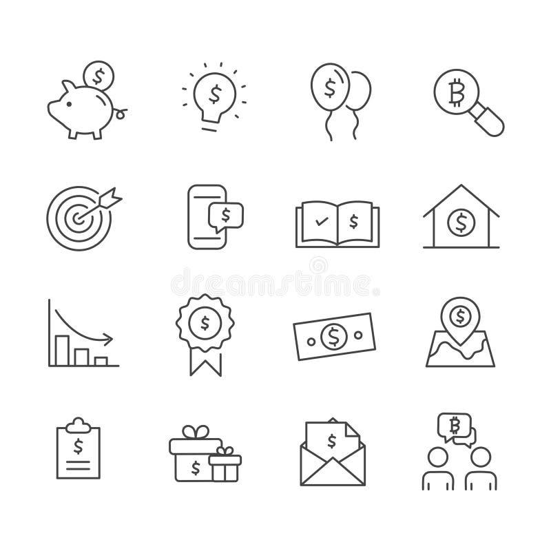 Ställ in av att marknadsföra symbolen Översikt för begrepp för affärsanalys som isoleras på vit bakgrund royaltyfri illustrationer