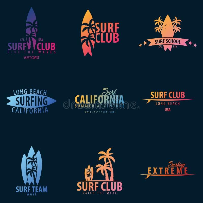 Ställ in av att surfa diagram och emblem för rengöringsdukdesign eller tryck Surfarelogomallar Surfa klubban eller shoppa royaltyfri illustrationer