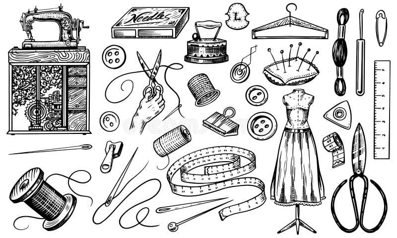 Ställ in av att sy hjälpmedel och beståndsdelar eller material för handarbete Handgjord utrustning Skräddaren shoppar för embleme vektor illustrationer