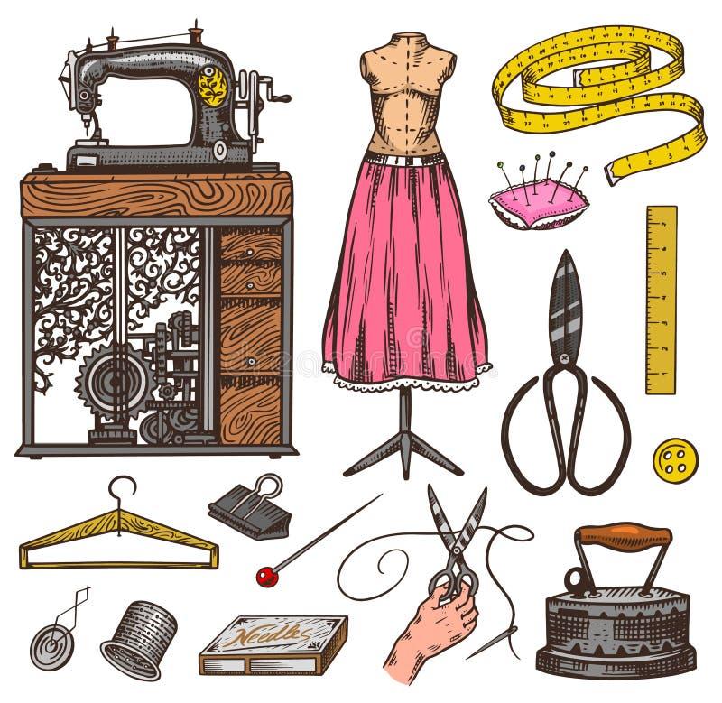 Ställ in av att sy hjälpmedel och beståndsdelar eller material för handarbete Handgjord utrustning Skräddaren shoppar för embleme royaltyfri illustrationer