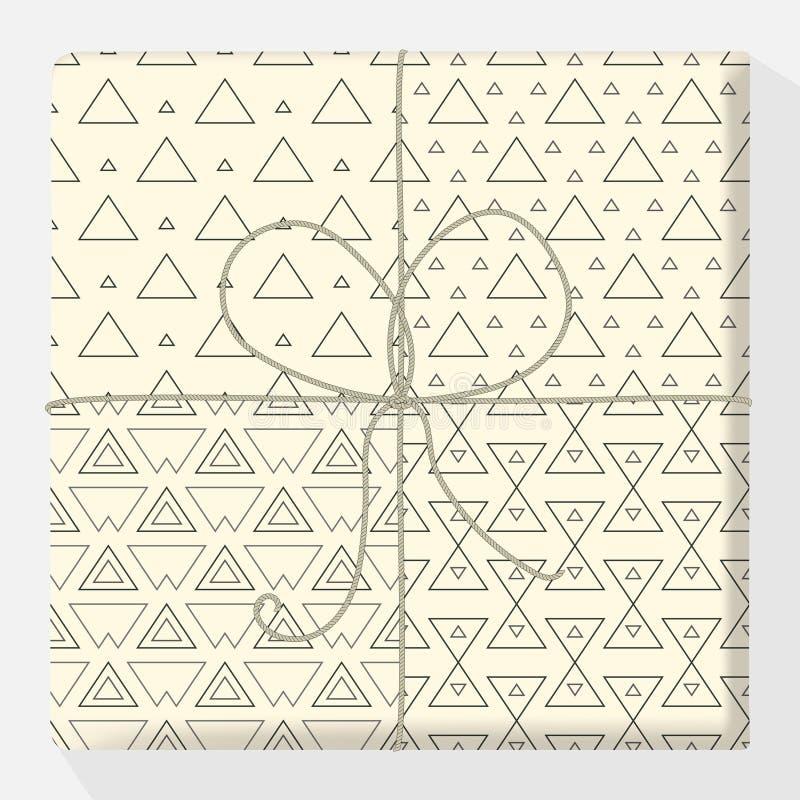 Ställ in av att upprepa och sömlösa modeller på en gåvaask Åtlöje upp vektorvariation Modern stilfull geometrisk textur av den mo royaltyfri illustrationer