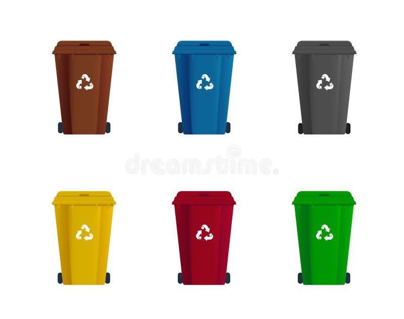 Ställ in av avfallscontainern eller soptunnan Sorteringavskr?de ?teranv?nd avfalls vektor illustrationer