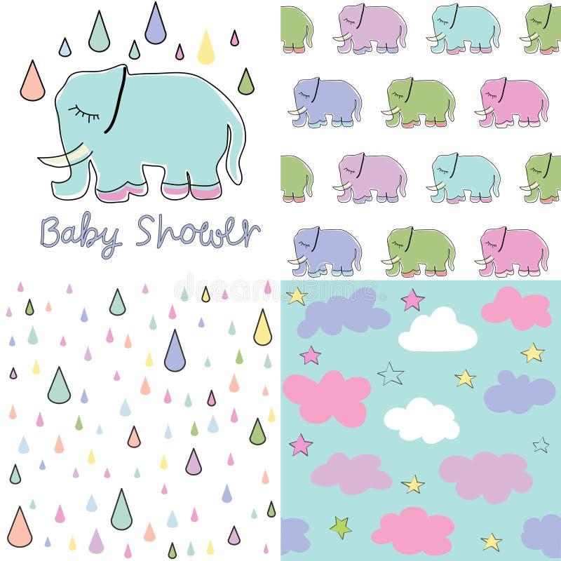 Ställ in av baby showermodeller seamless vektor för modell Behandla som ett barn elefantvektoruppsättningen vektor illustrationer