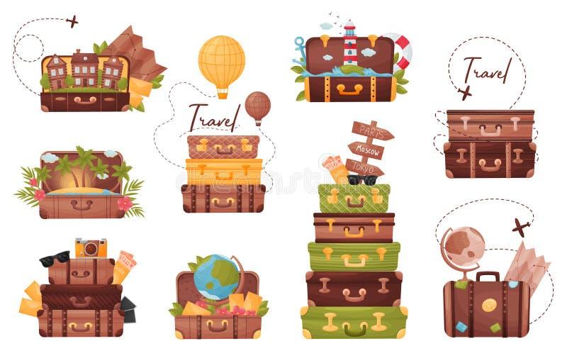 Ställ in av bagage med attributen av handelsresanden white f?r vektor f?r bakgrundsillustrationhaj stock illustrationer