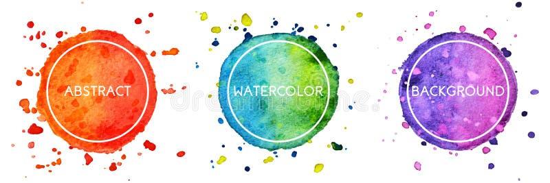Ställ in av bakgrund för 3 cirklar för flerfärgad vattenfärghand utdragen med färgstänk för logo, emblem stock illustrationer