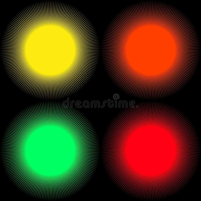 Ställ in av bakgrunder i form av kulöra bollar med strålar isolerat royaltyfri illustrationer