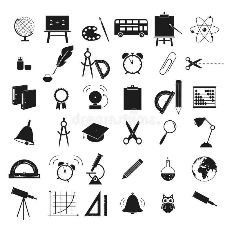 Ställ in av baksida till symbolsstudien för skola 36 vektor illustrationer