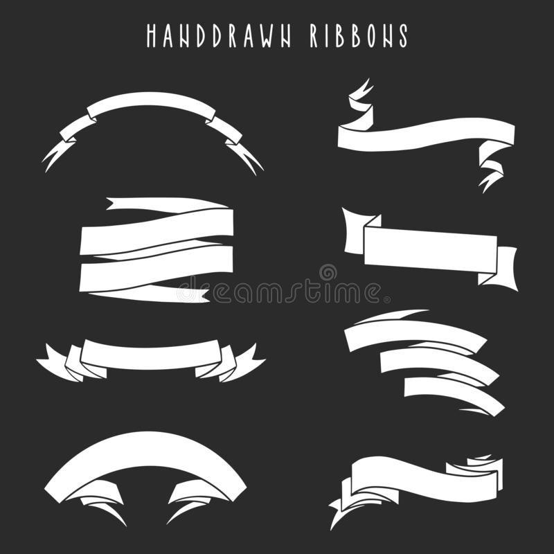 Ställ in av band/baner för hand utdragna vektor illustrationer