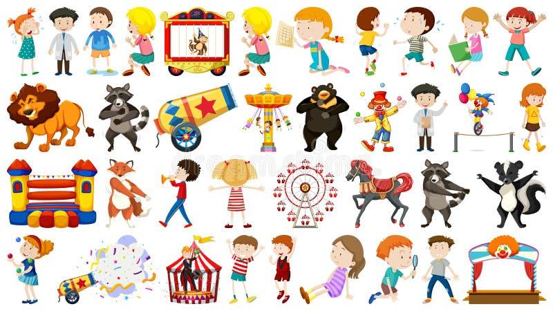 Ställ in av barn och cirkus stock illustrationer