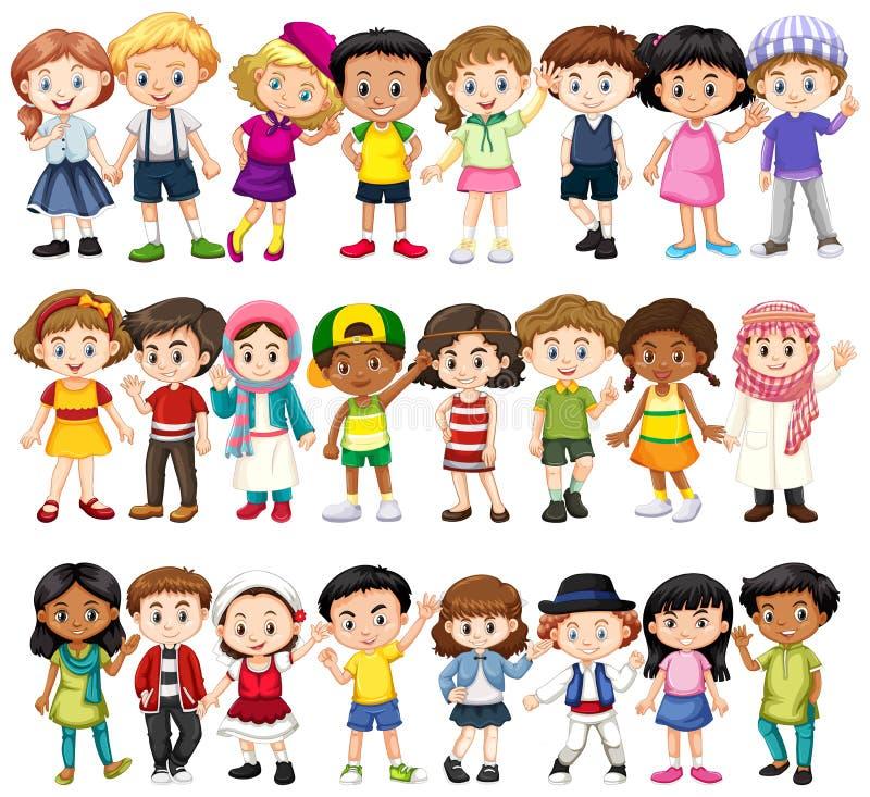 Ställ in av barn av olika lopp royaltyfri illustrationer