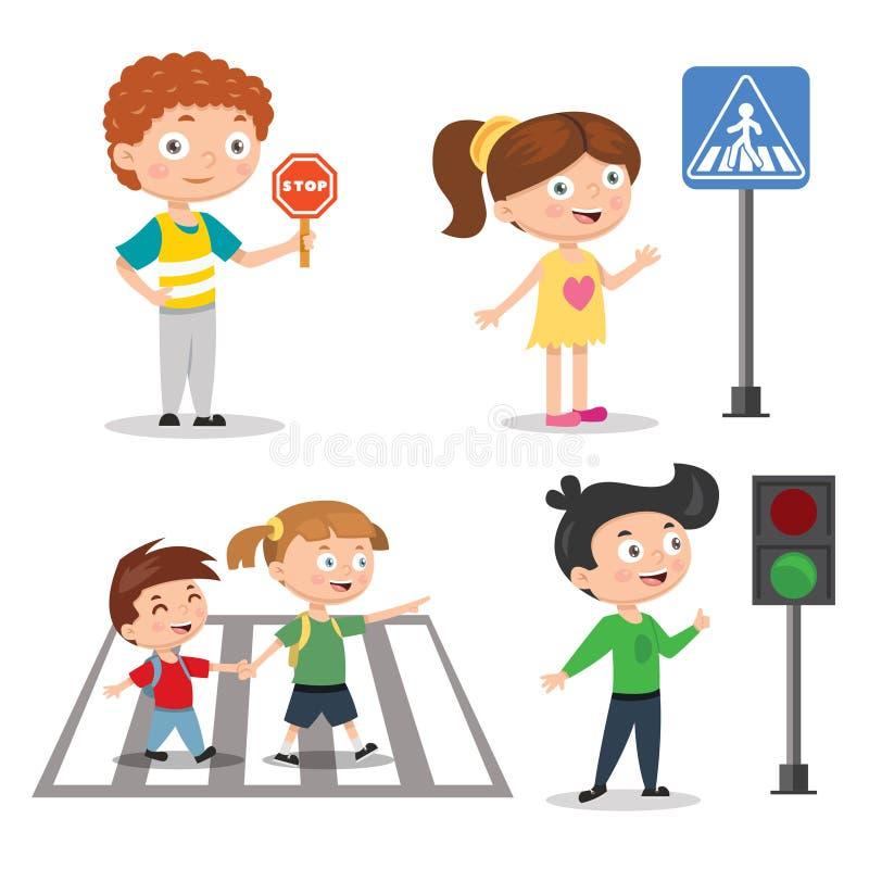 Ställ in av barn som undervisar vägsäkerhet Trafikljustecknet med går stoppa indikatorer vektor illustrationer