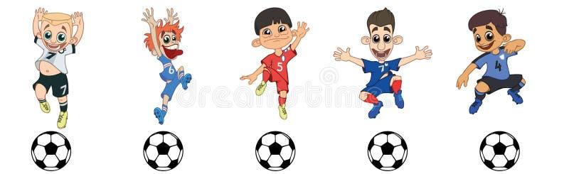 Ställ in av barnfotbollspelare, ett bollspel stock illustrationer