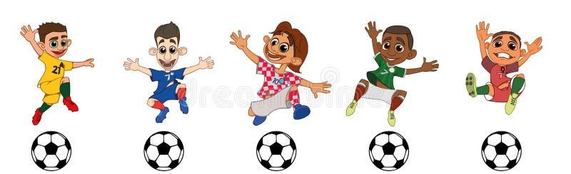 Ställ in av barnfotbollspelare, ett bollspel vektor illustrationer