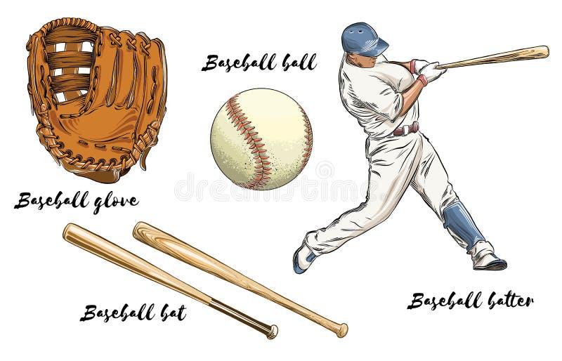 St?ll in av baseball i f?rg bakgrund isolerad white Hand-drog best?ndsdelar liksom basebollspelaren, handske, slagtr?et och boll stock illustrationer
