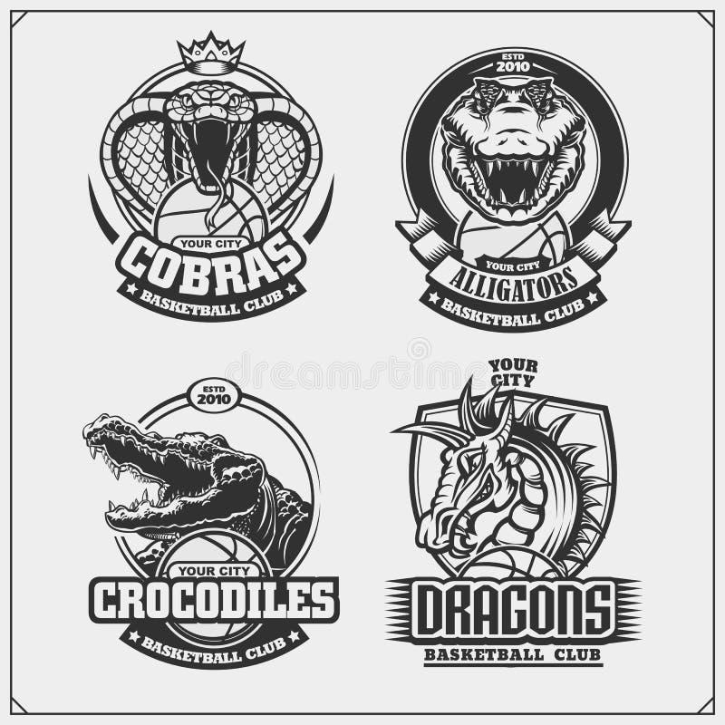 Ställ in av basketemblem, emblem, logoer och etiketter med kobran, krokodilen och draken vektor illustrationer