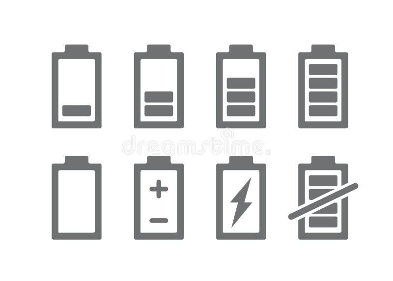 Ställ in av batteriindikatorsymbol Jämn ackumulatorsymbol för laddning och teckenillustration på vit bakgrund royaltyfri illustrationer