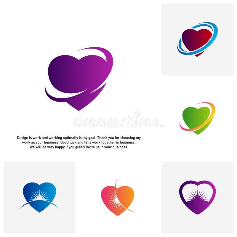 Ställ in av begrepp för logoen för förälskelsehjärta idérika, abstrakta färgrika symboler, beståndsdelar och symboler - vektor vektor illustrationer