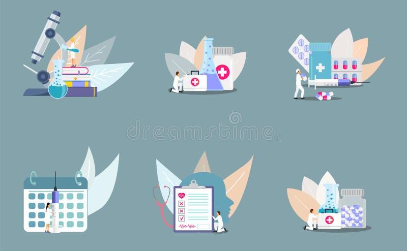 Ställ in av begrepp av kliniken stock illustrationer