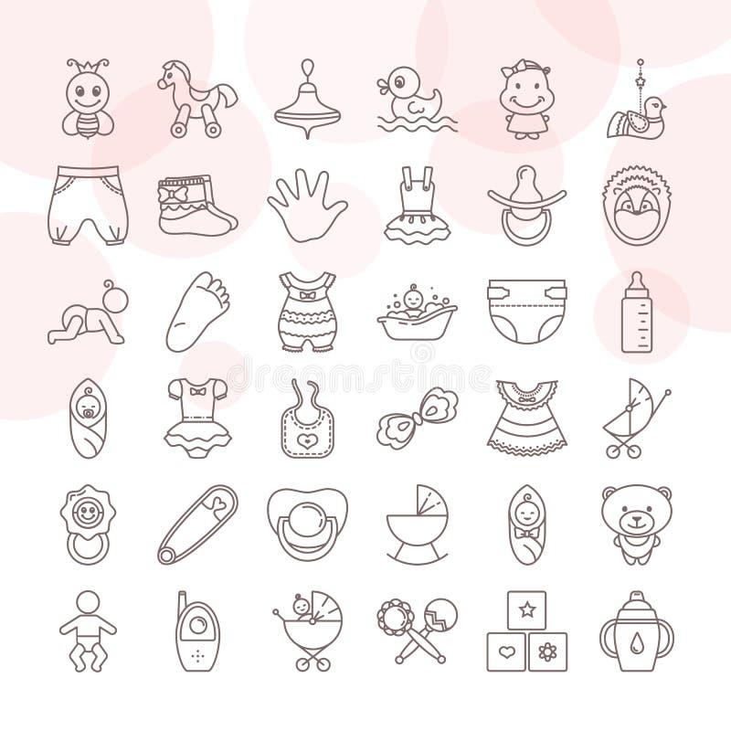 Ställ in av behandla som ett barn leksaker- och klädersymbolsuppsättningen som isoleras på en vit bakgrund vektor illustrationer