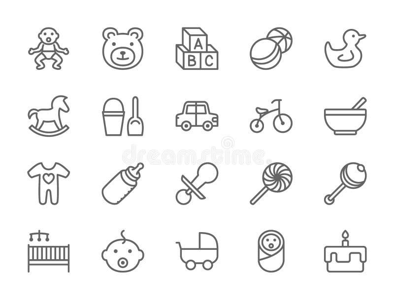 Ställ in av behandla som ett barn och barndomlinjen symboler Leksaker cykel, nippel, sittvagn och mer royaltyfri illustrationer