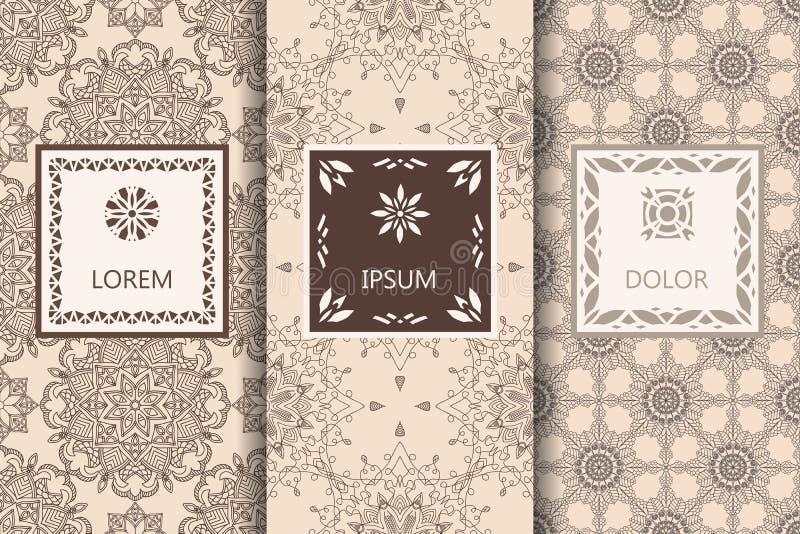 Ställ in av beiga och bakgrund för modeller för chokladfärger sömlös Vektorillustration för elegant design Abstrakt geometrisk ös vektor illustrationer