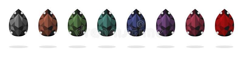 Ställ in av bergkristaller i lock Isolerade vektorbilder Material f?r handarbete Handgjorda smycken stock illustrationer