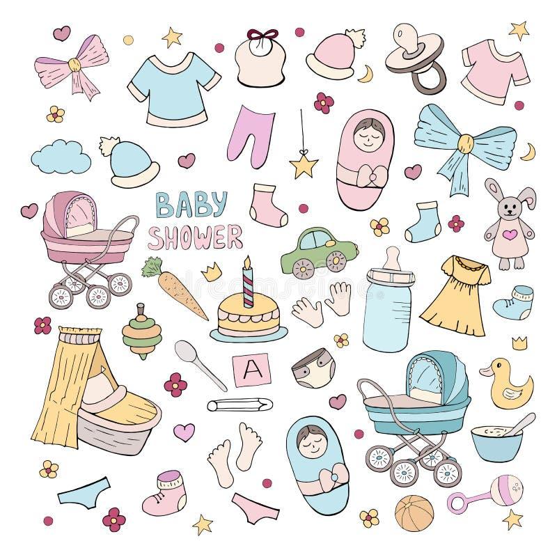 Ställ in av beståndsdelar för att fira behandla som ett barn födelse, flickan och pojken på vit bakgrund stock illustrationer