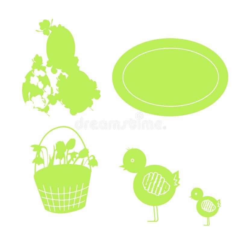 ställ in av beståndsdelar för easter kort stock illustrationer