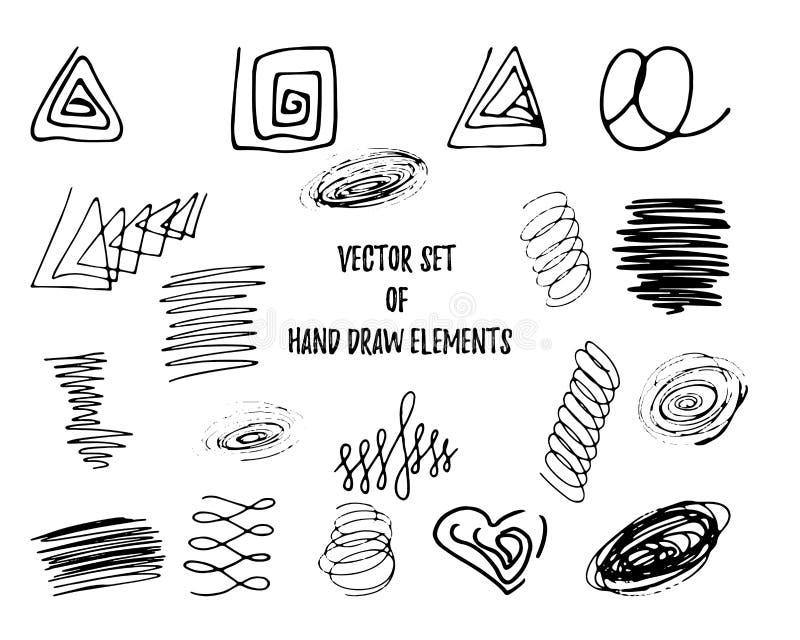 Ställ in av beståndsdelar fyrkanten, triangeln, cirkeln, hjärta, fläckar, spiralen, ögla för färgpulverhandattraktion, klottra ba stock illustrationer