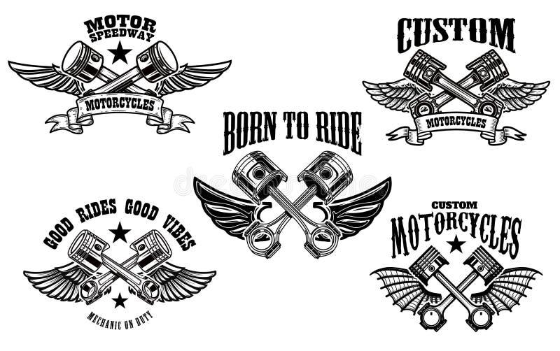 Ställ in av bevingade motorcykel- och bilpistonger Planlägg beståndsdelen för logoen, etiketten, emblemet, tecken royaltyfri illustrationer
